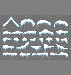 Snow ice cap with shadow snowy elements on winter vector