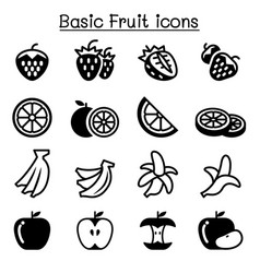 Strawberry apple orange banana fruit icon set vector