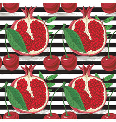 striped seamless patterncherries and pomegranates vector image
