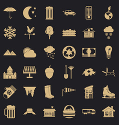 Suburb house icons set simple style vector