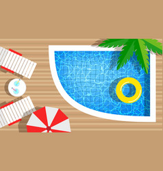 swimming pool with rings umbrella vector image