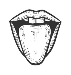 Tongue showing from mouth sketch engraving vector