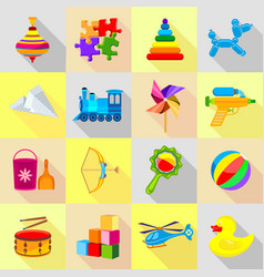 Toy icons set flat style vector