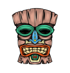 traditional mask made from wood with the vector image
