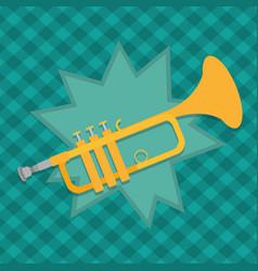 trumpet instrument cartoon vector image