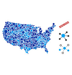 Usa map links mosaic vector