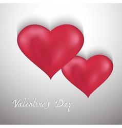 Valentines Day background with two hearts vector image