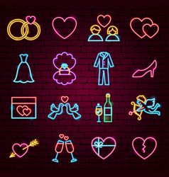 wedding neon icons vector image
