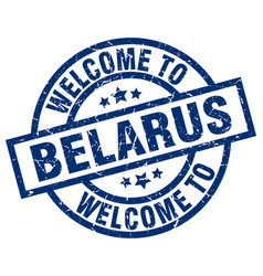 Welcome to belarus blue stamp vector