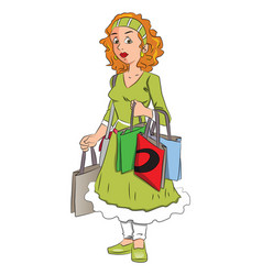 Woman carrying shopping bags vector