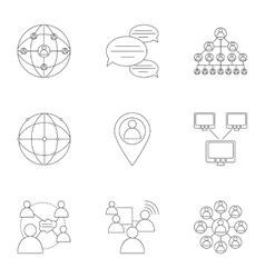 World internet icons set outline style vector