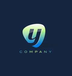 y letter logo oval shape modern design vector image