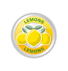 yellow badge with three lemons placed on white vector image