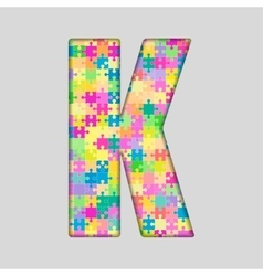 Color piece puzzle jigsaw letter - k vector