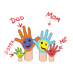 colorfull up hands of a family vector image vector image