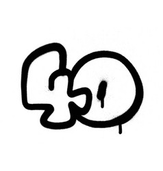 graffiti bubble number 40 fourty in black vector image vector image