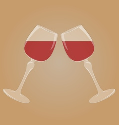 Two glasses with red wine vector image vector image