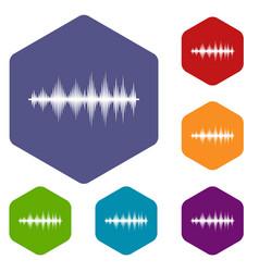 audio digital equalizer technology icons set vector image