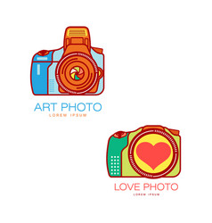 camera logo for art and wedding photographer vector image vector image
