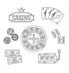 Casino and gambling sketched symbols vector image vector image