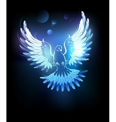 glowing blue dove vector image vector image