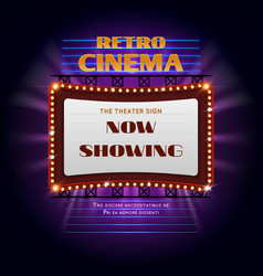 retro hollywood cinema 3d glowing light sign vector image vector image