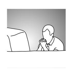 serious businessman looking at computer screen vector image
