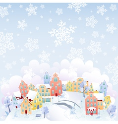 Snowing town vector