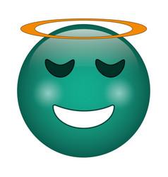 angel emoticon style icon vector image