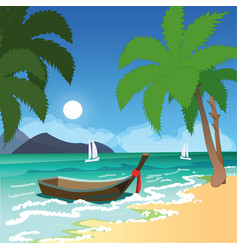 beach with palms and boat vector image vector image