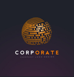 Corporate sphere logo with shattered squares vector