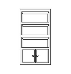 Cupboard furniture wooden decoration outline vector
