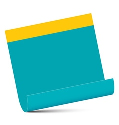 Empty Blue Paper with Yellow Edge Isolated on vector image