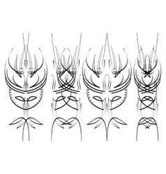 Pinstripe design four black elements on white vector image