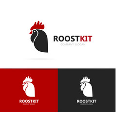 rooster and cock logo combination vector image vector image
