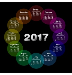 Colorful calendar for 2017 vector