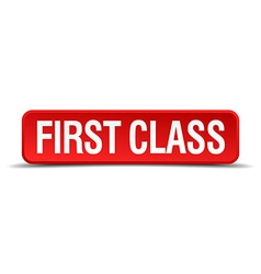First class red 3d square button isolated on white vector