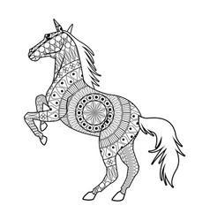 horse on two legs - mandala decoration animal vector image