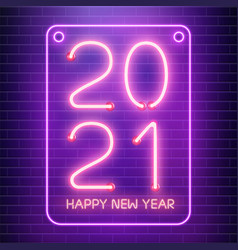 2021 happy new year neon lamps on brick wall pink vector image