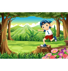 A playful young man above the stump at the forest vector image