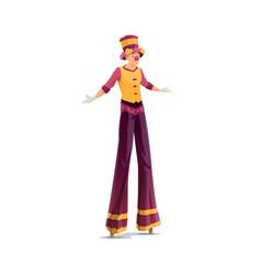 acrobat on stilts isolated clown artist vector image