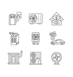 Air cooling and heating linear icons set vector