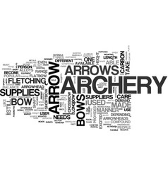 Archery supplies text word cloud concept vector
