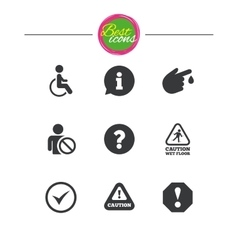 Attention notification icons Information signs vector