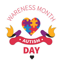 autism day isolated icon heart of jigsaw or vector image