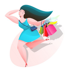 beautiful woman shopping icon with shadow vector image
