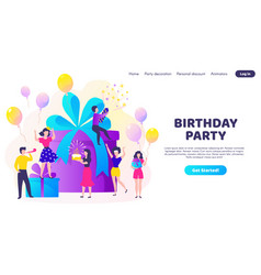 birthday landing page party celebration with gift vector image