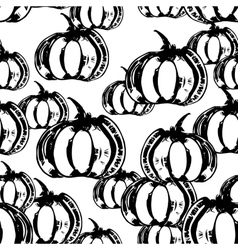 Black and white seamless pattern with pumpkins vector