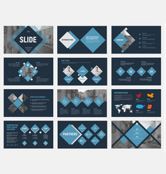 Black slides with blue rhombuses for annual vector