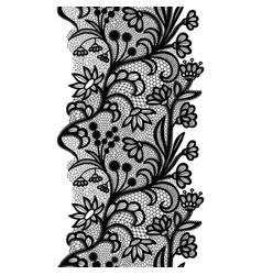 Black vintage lacy elegant trim lace border vector